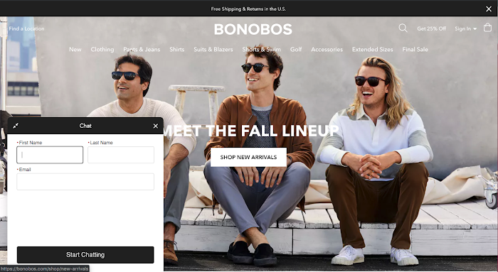 Bonobos homepage with a chatbot asking for an email address