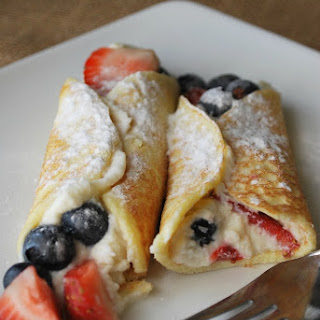 Berry-Stuffed Cottage Cheese Crepes.