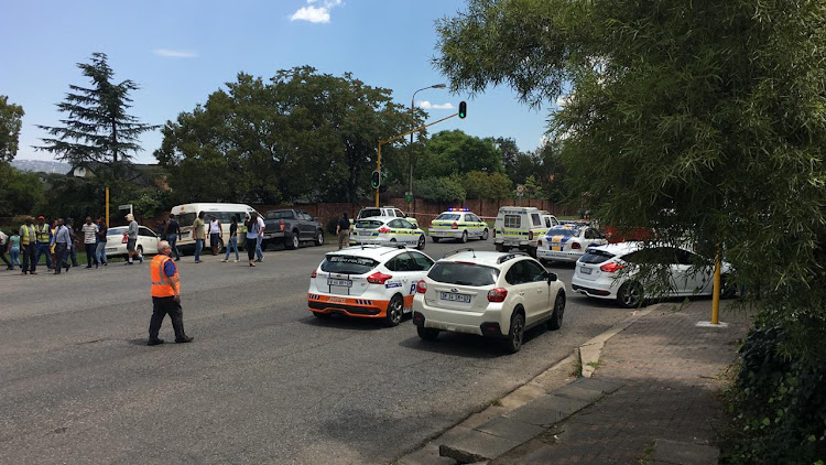 Police, metro police and paramedics on the scene of a shooting at Edenvale high school on February 21 2019.