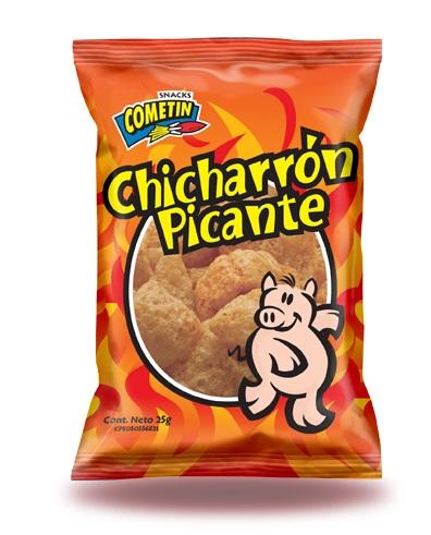 snack cometin chicharron picante 25gr