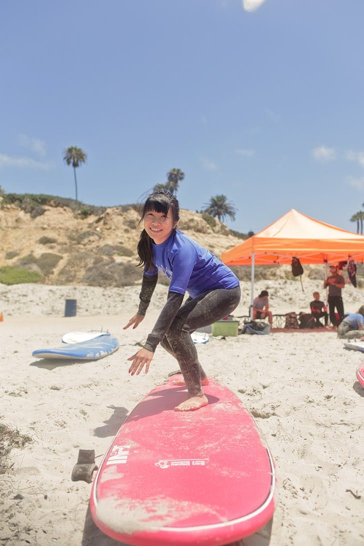 Learning to Surf with San Diego Surf School.
