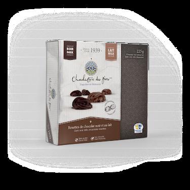 Chocolat Rosettes de chocolat noir et au lait Boîtes