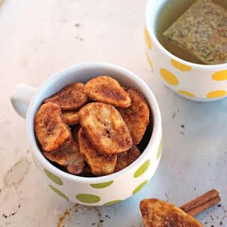 Crunchy Cinnamon Baked Banana Chips.