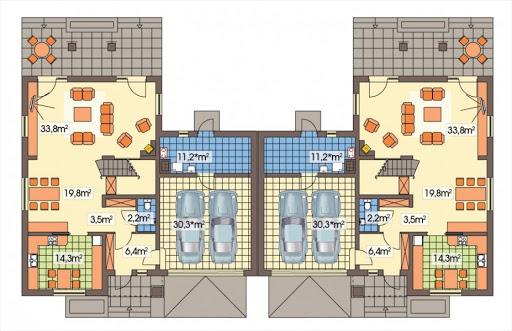 Cyprys bliźniak wersja B 2G, 2 ściany między segm. - Rzut parteru