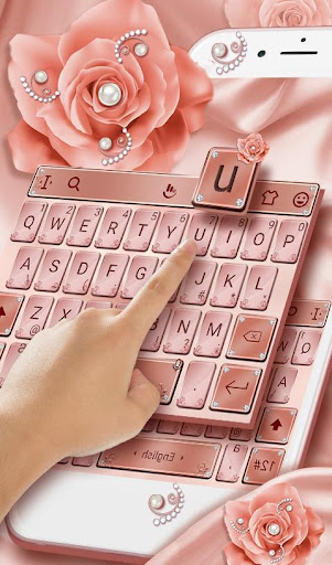 Screenshot for Pink Rose Gold Diamond Drops Keyboard Theme in United States Play Store