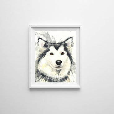 Husky Watercolor Painting Art prints