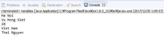 Java - Khai báo biến