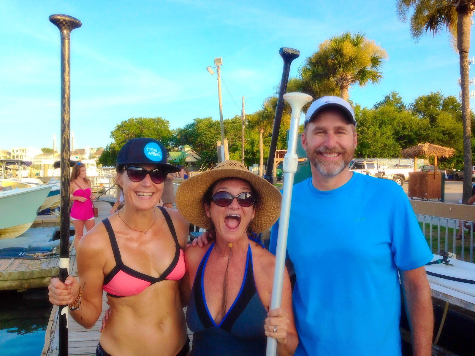 Misty Lister, Jamee Thomas Haley, and Jim Haley after the paddle