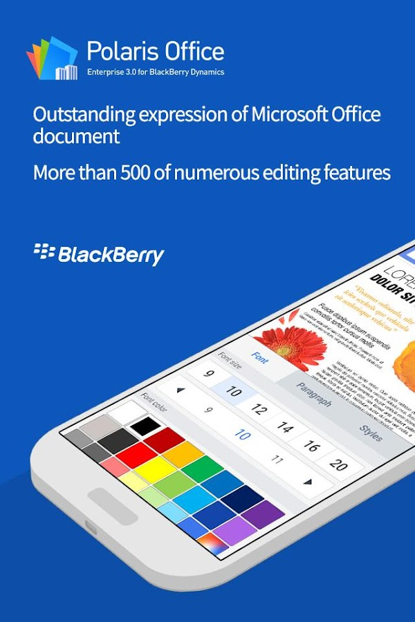 Polaris Office for BlackBerry- screenshot