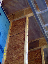 "Photo: N. wall: flanges on vertical & horiz. (roof) TJI's cut back so's OSB web can overlap (other side, next pic) & be glued & screwed (w/ scrap ply backing plates) to form continuous inverted ""U"" of sorta-thermal-bridge-free 16"" DPC insulation envelope ..."