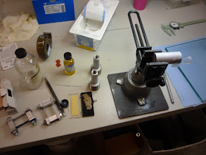 Photo: Applying strain gages to the foot pegs.