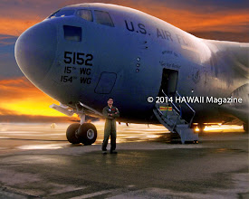 Photo: PEOPLE CATEGORY, FIRST PLACE. U.S. Air Force Capt. Eugene Salazar II beside his C-17 transport, Hickam Air Force Base, Pearl Harbor, Oahu. Photo by Eugene Salazar, Glendale, Arizona.