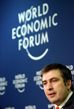 Photo: DAVOS/SWITZERLAND, 21JAN04 - Mikheil Saakashvili, President Elect of Georgia, answers questions at a press conference at the Annual Meeting 2004 of the World Economic Forum in Davos, Switzerland, January 21, 2004. 