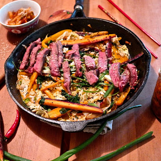 Sweet and Spicy Beef Stir Fry with Kimchi