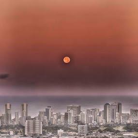 Waikiki Moon by Adriano Sabagala - Landscapes Starscapes ( pwcmoonscapes )