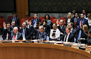 Members of the United Nations Security Council vote for ceasefire to Syrian bombing in eastern Ghouta, at the United Nations headquarters in New York, US, February 24, 2018.