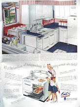 Photo: An ad from the American Gas Association. The cabinets appear to be the metal type that my mother had.