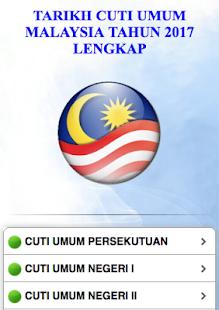 Cuti Umum Malaysia Tahun 2017 - náhled