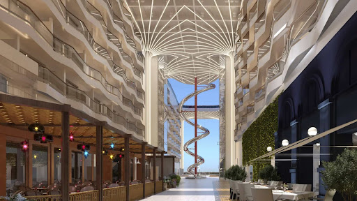 msc-world-europa-promenade2.jpg - The promenade on MSC World Europa will open up onto a sky-covered area at the back of the ship that is home to the largest dry slide at sea.