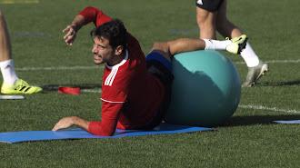 José Romera en el entrenamiento de este miércoles.