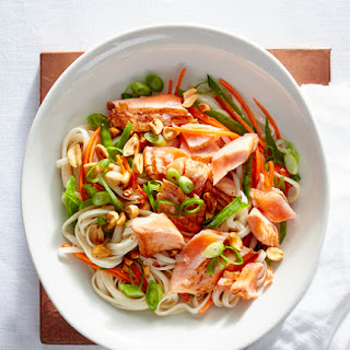 Seared Salmon Noodles With Scallions
