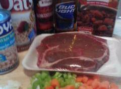 Season both sides meat with S&P.Place in crockpot.Add rest of ingredients.Cover and cook on...