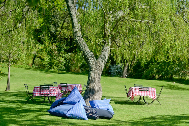 Sloping lawns and shady trees set the scene for a tranquil picnic at Hartenberg.