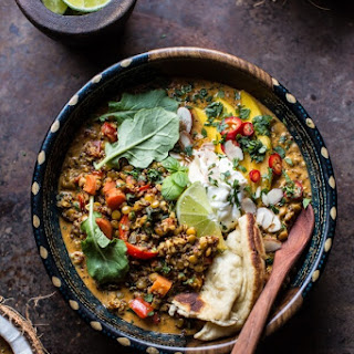 Simple Coconut Quinoa and Lentil Curry with Lime Mango. Recipe