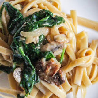 Pasta in a Creamy Mushroom Sauce with Baby Spinach.