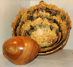 Photo: A nested bowl set by Mike Mahoney and a hollow form by Jerry Kaplan made from a piece of apple wood he got in the MCW Silent Auction
