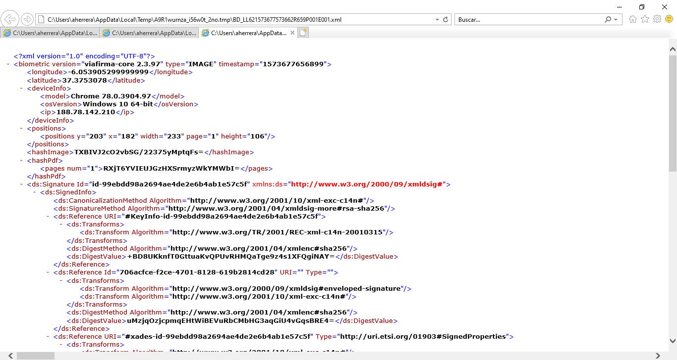 XML de imagen el firma electrónica