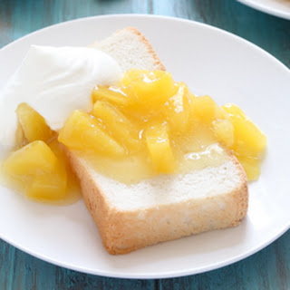 Angel Food Loaf Cake with Pineapple Compote.