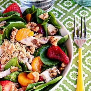 Strawberry Orange Spinach Salad with Quinoa.