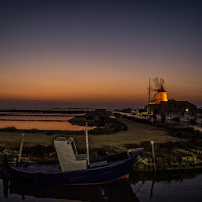 Windmill at Marsala by Frans Scherpenisse - Landscapes Waterscapes ( moon, marsala, sunset, saltlake, boats, boat, italy, windmill )