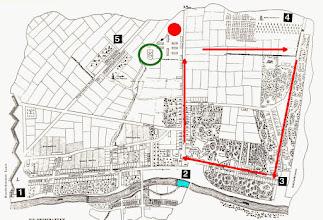 Photo: Unser Spaziergang führt durch Obermeidling und Untermeidling.  Route: Philadelphiabrücke - Hohenbergstraße - Grüner Berg - Lobkowitzbrücke - Meidlinger Hauptstraße hinauf.  (Grün: erster Friedhof, Bereich Vierthalergasse)
