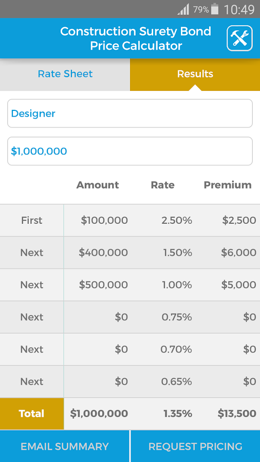 Surety Bond Price Calculator- screenshot