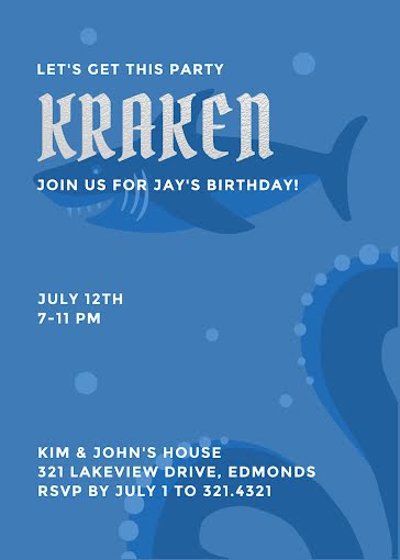 Get This Party Kraken - Birthday Card Template