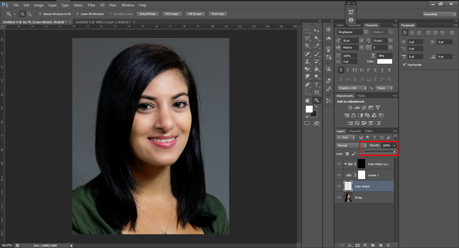 photoshop skin tone example