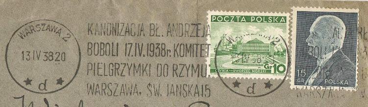 Photo: Stempel okolicznościowy Poczty Polskiej, używany na korespondencji w okresie kanonizacji w 1938 r.