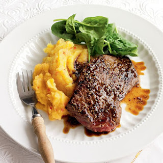 Steak With Mustard Sauce And Chilli Pumpkin Mash.