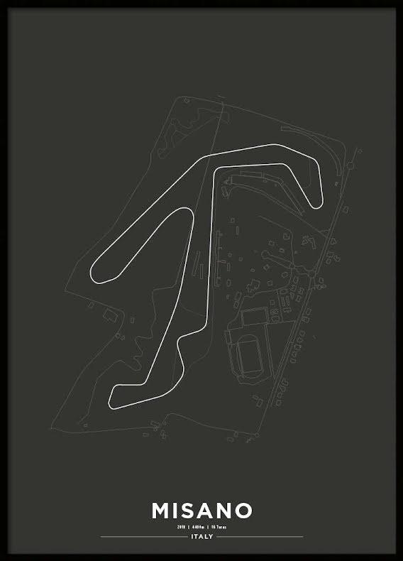 Poster, Misano Circuit Svart