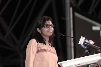 Photo: MP, Male', Eva Abdulla. Speaking at MDP Rally following coup d'etat in the Maldives