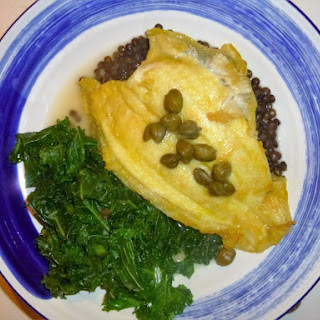 Pan Fried Lemon Sole, Kale and Lentils with a Citrus and Caper Broth