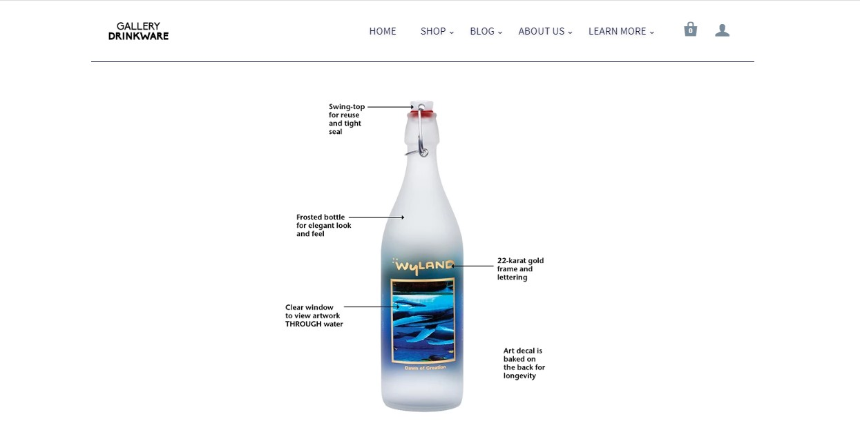 Water Gallery's landing page - water bottle on a white background