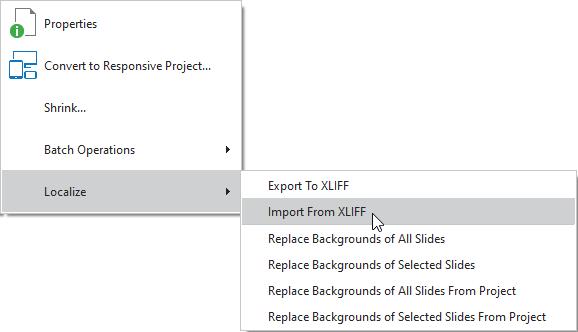 Import from XLIFF