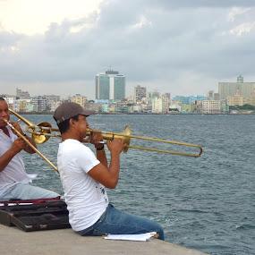 Cuban trombone players by Eason Jordan - People Street & Candids