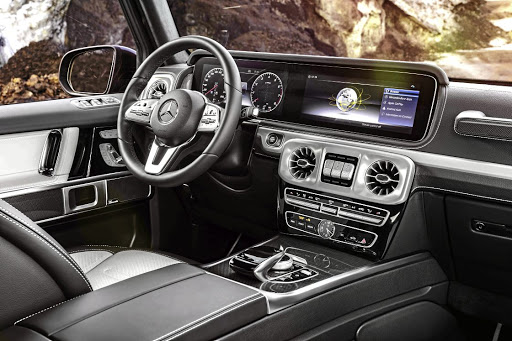 The interior goes all luxury with tech from the E and S-Class but with a G-Class slant.
