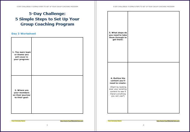 Create Your Group Coaching Program - Challenge Worksheet 3