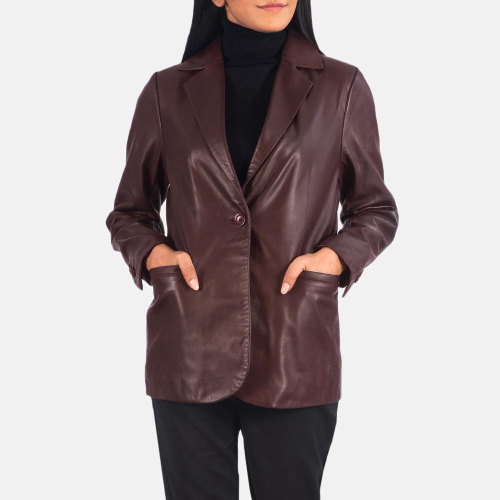 Norma Maroon Leather Blazer