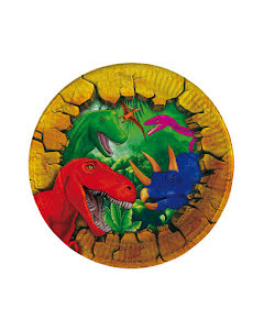 Dinosaurie Tallrik 18 cm 6st.